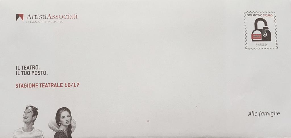 Volantino Spedito - artisti associati - spedizione volantino via posta. Porta a porta, lettera non indirizzata con copertura del 97%